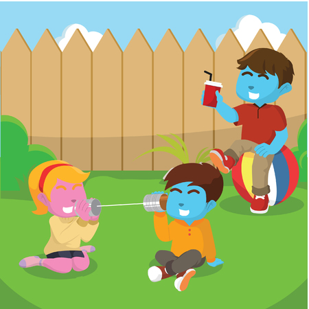 Kids playing at backyard– stock illustration