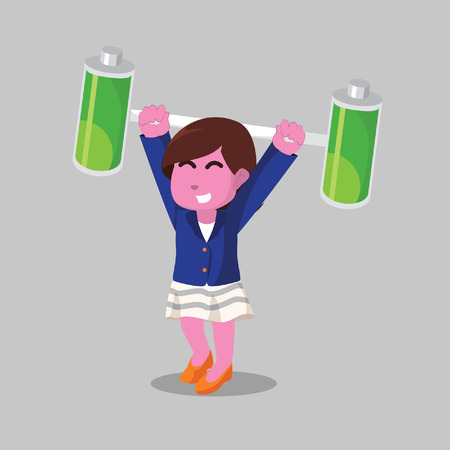 Pink businesswoman lifting two batteries– stock illustration