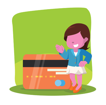 Pink businesswoman with giant credit card stock illustration.