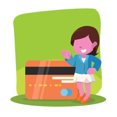 Roze onderneemster met de reuzeillustratie van de creditcardvoorraad.