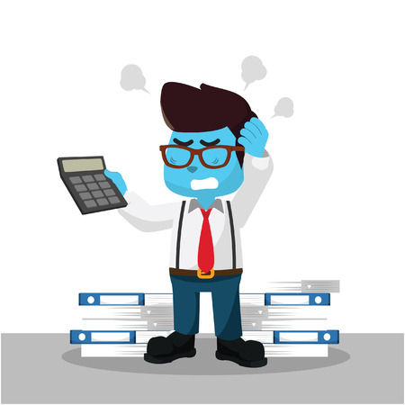 Blue accountant confused with calculator– stock illustration