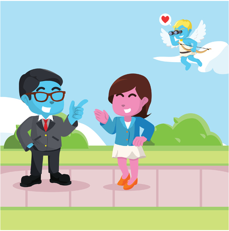Cupid targeting business man and business woman– stock illustration