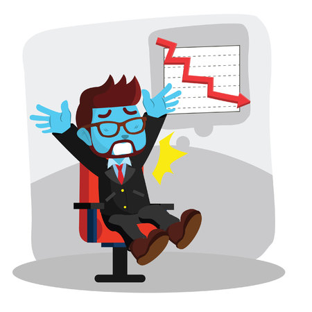 Blue businessman surprised as low graphics in stock illustration.