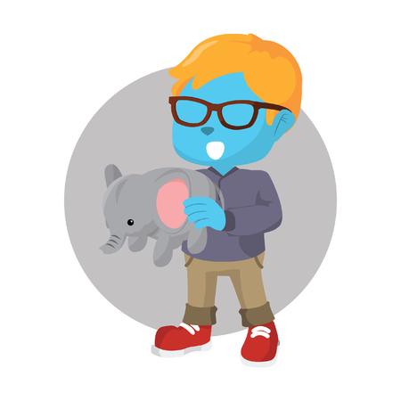 Blue boy holding elephant doll stock illustration.