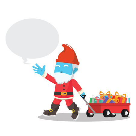 Blue gnome pulling a cart full of Christmas gift in stock illustration. Illusztráció