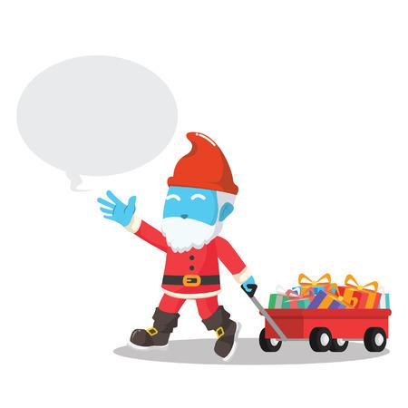 Blue gnome pulling a cart full of Christmas gift in stock illustration. Ilustração
