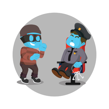 Blue thief want to steel key from blue officer stock illustration.