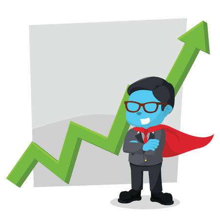 Super blauwe zakenman die zich voor grafisch in voorraadillustratie bevindt. Stockfoto - 93225834