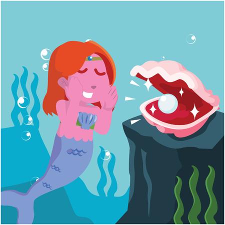 Rosa Meerjungfrau, die Perle von der Muschelvorratillustration nimmt Standard-Bild - 93226131