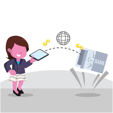 Pink businesswoman transferring money with mobile payment– stock illustration