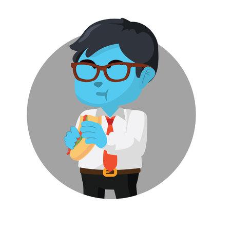 Blue businessman eating hot dog stock illustration.