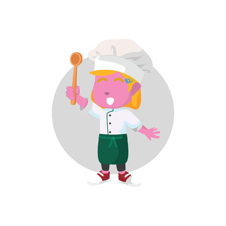 Pink chef girl holding spoonâ ? ?stock ilustração Foto de archivo - 93378456