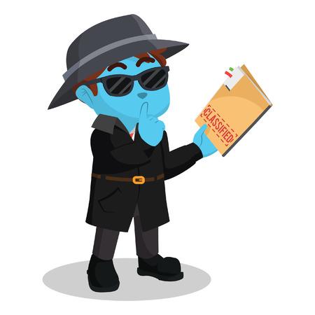 Blue detective holding classified document stock illustration. Illustration