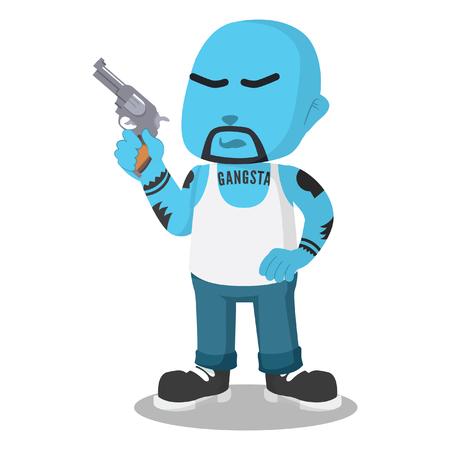 Blue gangster holding a gun– stock illustration Ilustração