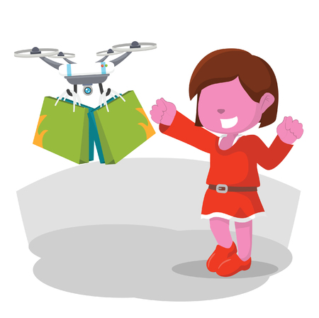 Drone help pink woman bring her shopping bag– stock illustration Illustration