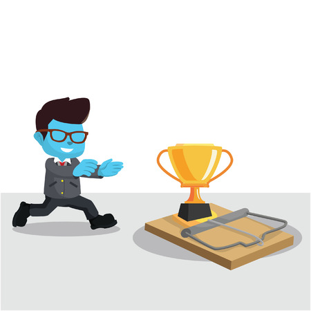 Blue businessman running to trap– stock illustration