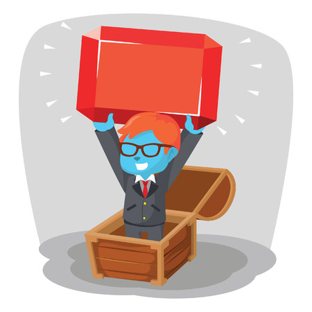 Blue businessman finding a giant red ruby stock illustration.