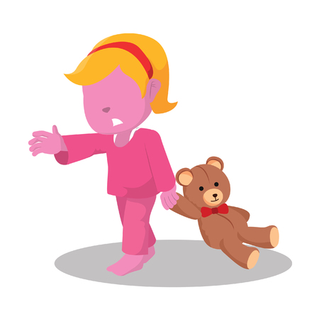 Pink girl sleep walking– stock illustration