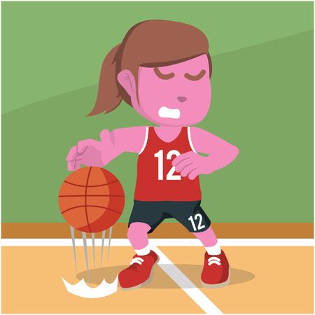 Female basketball player dribbling– stock illustration Иллюстрация