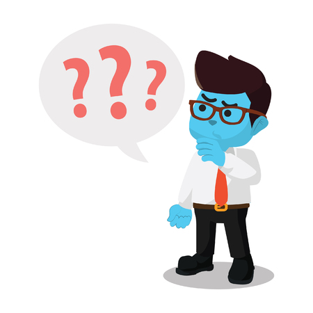 Blue businessman with question marks– stock illustration