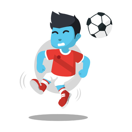 Blue soccer player jump and heading– stock illustration