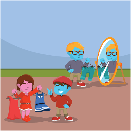 Kids choosing outfit illustration design– stock illustration