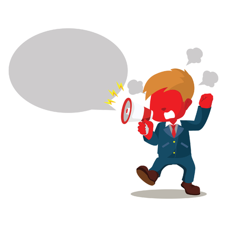Red businessman yelling with callout– stock illustration
