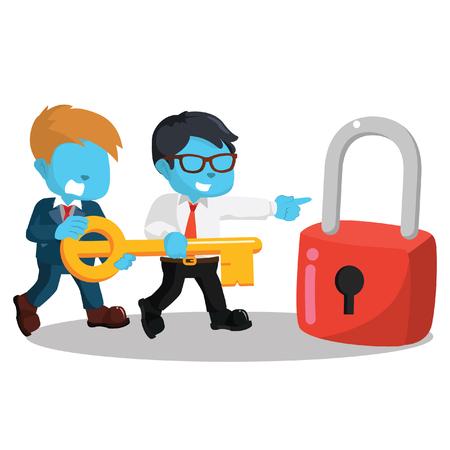 Blue businessman together holding giant key– stock illustration