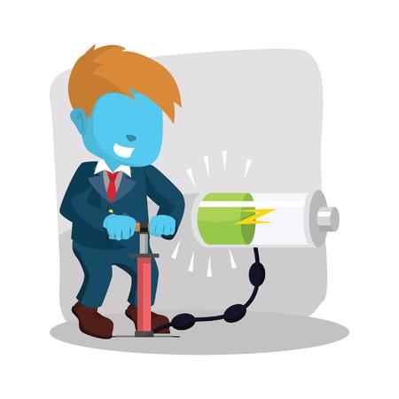Blue businessman pumping energy stock illustration. Çizim
