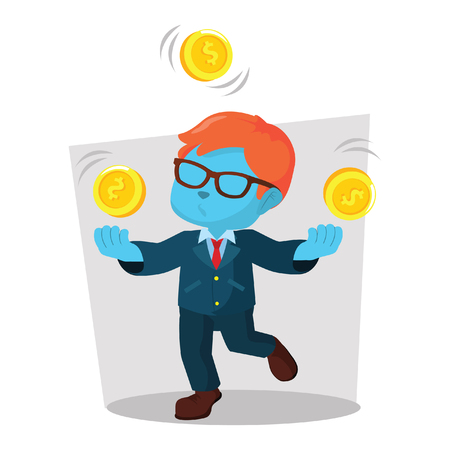 Blauwe zakenman het jongleren met de illustratie van de muntstukvoorraad.