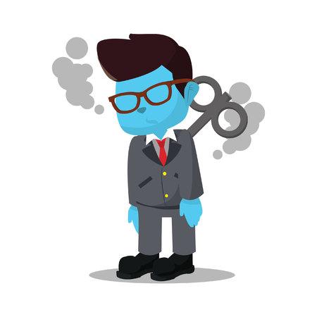 Blue businessman stopped working stock illustration. Illustration