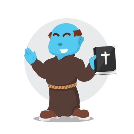 Blue monk holding bible– stock illustration