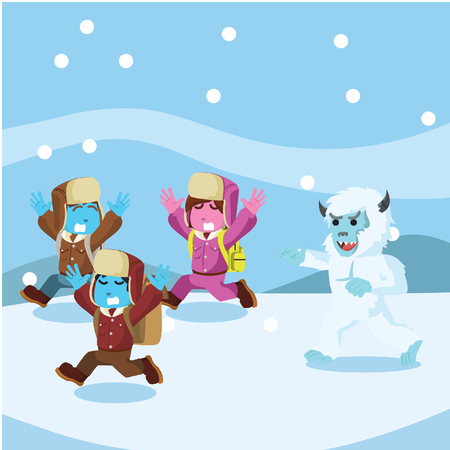 Group of arctic explorer chased by yeti– stock illustration