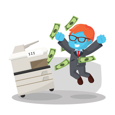 Blue businessman successfully copying money in stock illustration.