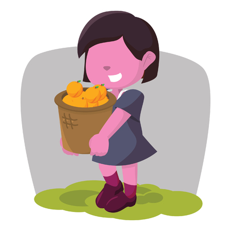 Pink girl carrying basket of orange stock illustration. Stock Vector - 93393913