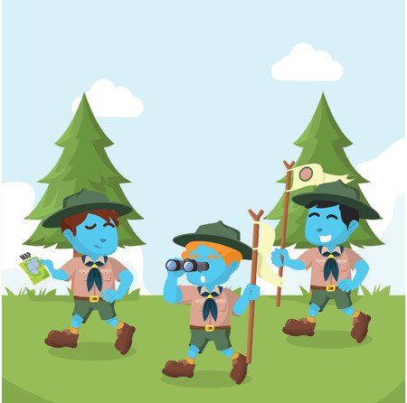 Group of blue boy scout walking in forest– stock illustration
