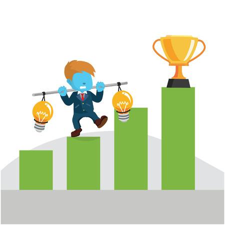 Blue businessman climbing graphic– stock illustration