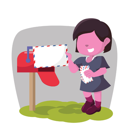 Pink girl receiving mail box– stock illustration Illustration
