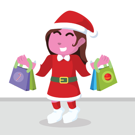 Pink Santa girl shopping vector illustration Illustration