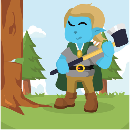 Elf chopping a tree colorful vector illustration