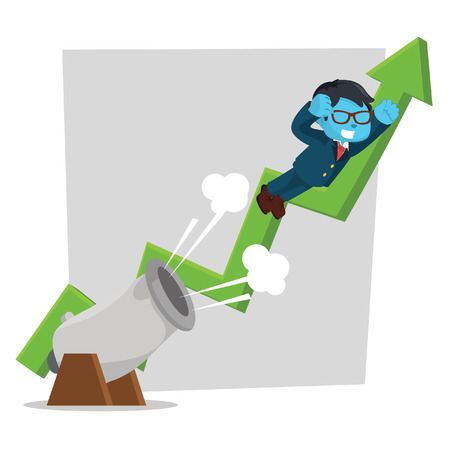 Blue businessman shot from cannon with arrow vector illustration