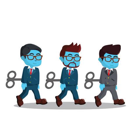 Het blauwe werk van de zakenmanrobot Stock Illustratie