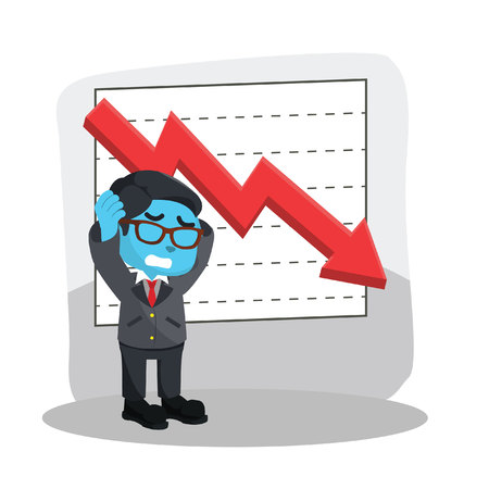 Blue businessman stress with graphics down stock illustration. 向量圖像