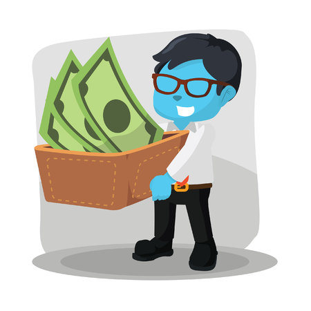 Blue businessman carrying a big wallet and his money stock illustration.