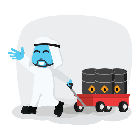 Blue Arabian businessman pulling cart with oil barrels stock illustration. Illustration