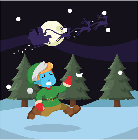 Santa left his blue elf behind in stock illustration. 向量圖像