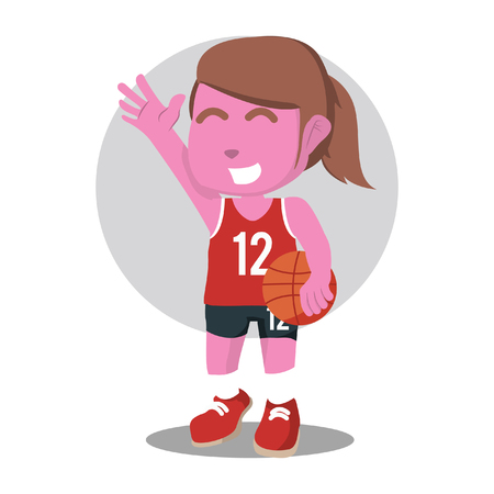 Pink female basketball player stock illustration. Illustration