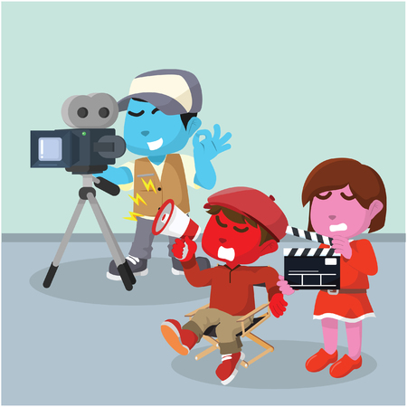 Movie crew illustration in stock illustration. Foto de archivo - 93226588
