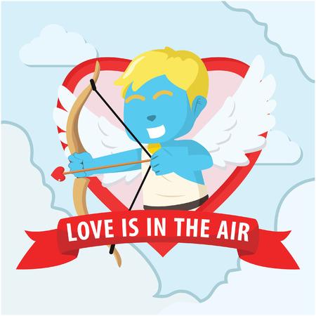 Blue cupid boy vector illustration Иллюстрация