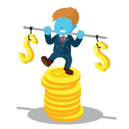 Blue businessman stabilizing on stack of coin– stock illustration
